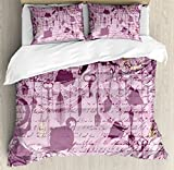Ambesonne Tea Party Duvet Cover Set Queen Size, Grungy Hanging Tea Cups Clocks and Cutlery Hand Writing Calligraphy, Decorative 3 Piece Bedding Set with 2 Pillow Shams, Dried Rose Pink Yellow