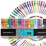 Arts & Crafts : Tekameka Art Gel Pens Set 100 Pack Include Carrying Case - Individual Coloring Drawing Pen Markers for Adult Coloring Books