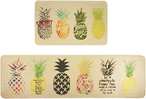 Wolala Home Natural Rubber 2 Pieces Sets Non-Slip Washable Kitchen Rug and Mat Fruit Pineapple Comfortable Durable Laundry Room Area Rugs Bedside Rug Runner Doormat 18 x29 18 x59 , Pineapple