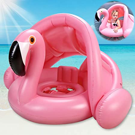 Baby Pool Swim Float with Sun Canopy Infant Inflatable Swimming Ring with Sunshade for Boys Girls Toddlers Age 6-48 Months