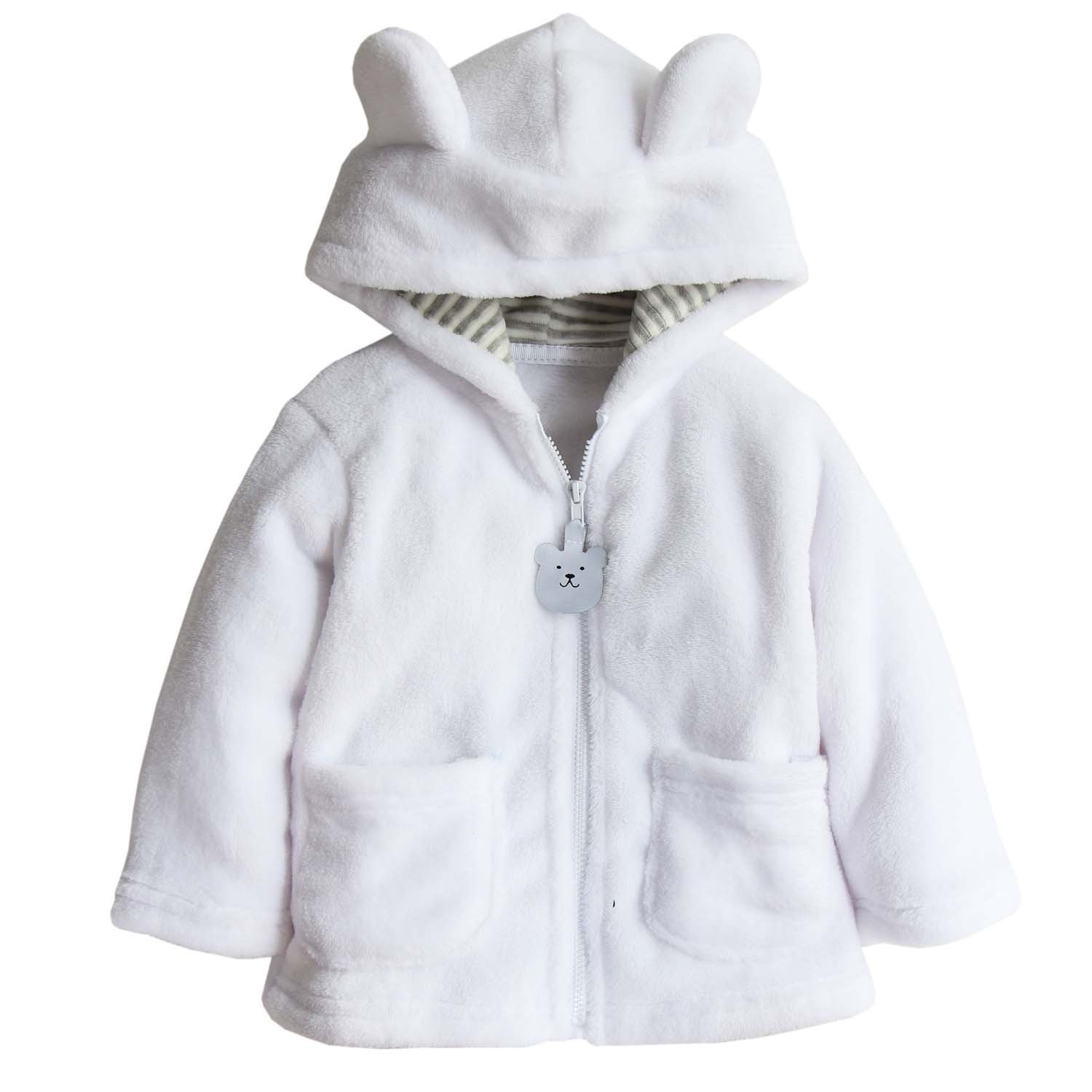 Toddler Baby Boys Girls Cartoon Fleece Hooded Jacket Coat with Ears size 6-12 Months (White) by EGELEXY