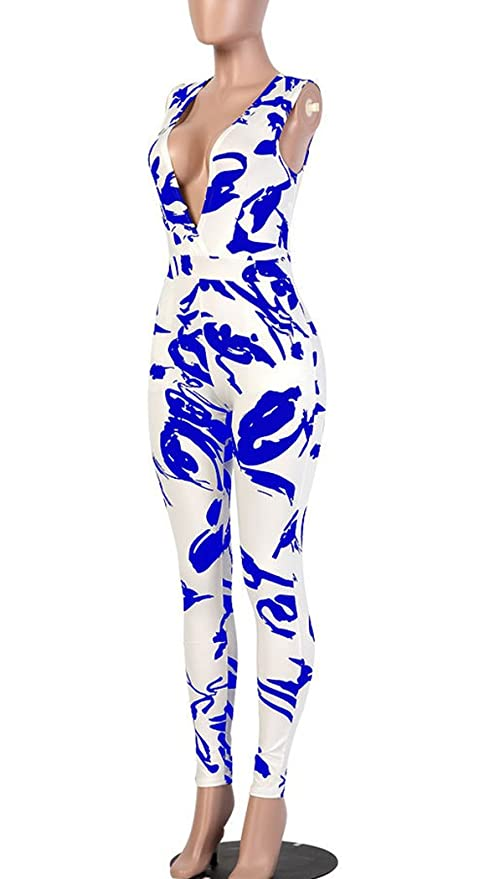 dcab8676349f Amazon.com  Mr.Seven Womens Sleeveless Deep V-neck Floral Printed Long  Pants Jumpsuits Rompers  Clothing