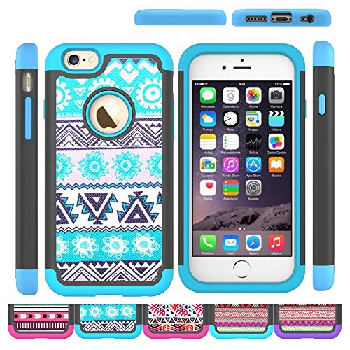 Price comparison product image iPhone 6s Case, iPhone 6 Case,  HLCT Soft Interior Silicone Bumper&Hard Shell Solid PC Back, Shock-Absorption&Skid-proof, Anti-Scratch Hybrid Dual-Layer Cover (Blue)