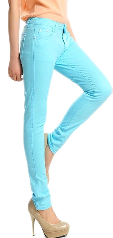 Demarkt@ Women's Stretch Skinny Pants Jeans Trousers (Large, Light Blue)