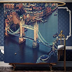 Wanranhome Custom-made shower curtain London Vintage Style Symbols of London with National Flag Uk Great Britain Old Clock Tower Art Print Multi For Bathroom Decoration 60 x 72 inches