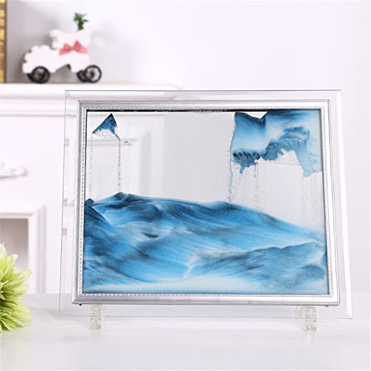 Tenrry 3D Dynamic Flowing Grit Sand Painting Transparent Glass Frame Drawing Landscape