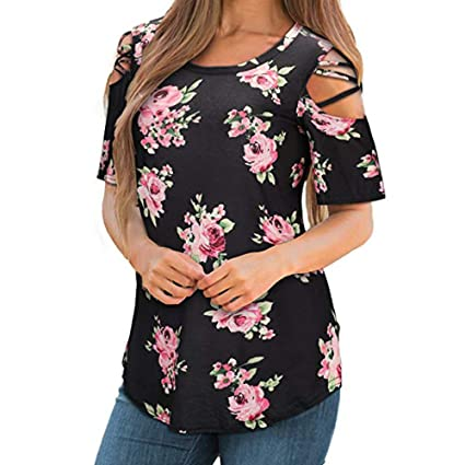 b7f9835032a44 Amazon.com: ❤️BOLUBILUY 2019 New Womens Loose Strappy Cold Shoulder Tops  Basic T Shirts Summer Blouses Short Sleeve: Sports & Outdoors