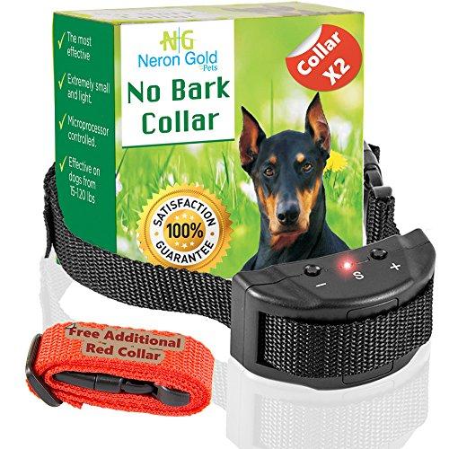 Neron Gold Pets No Bark Dog Collar For Bark Control | 7 Levels of Sensitivity | For Medium Large Or Small Dogs | No Harm Warning Beep & Shock Anti Bark Training Collar(Black) | Gift:Stylish Red Collar