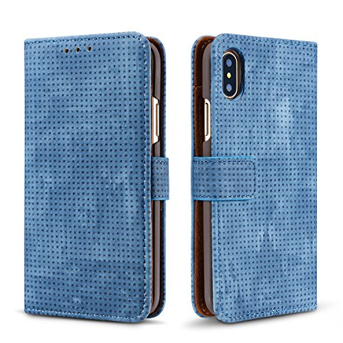 iPhone X Wallet Retro Case,TACOO Breathable Grid Solid Blue Color Leather Protective Magnetic Closure Flip Kickstand Credit Card Money Slot Cover for Apple iPhone 10