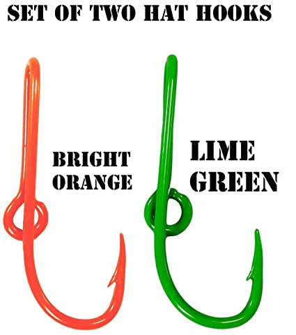 bbe90c4e3ea4 Amazon.com : BT Outdoors Custom Colored Eagle Claw Hat Fish Hooks for Cap  -Set of Two Hat pins- One Bright Orange and One Lime Green Hat Hook Money/ Tie ...