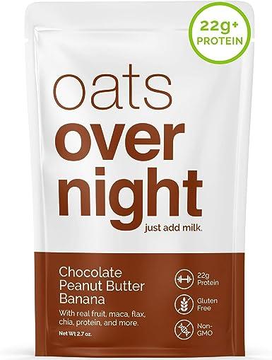 Oats Overnight Durante la noche la avena chocolate de mantequilla de cacahuete del plátano (3 onzas por paquete)-alta en proteínas,baja en azúcar,sin gluten 12 Paquete: Amazon.es: Alimentación y bebidas