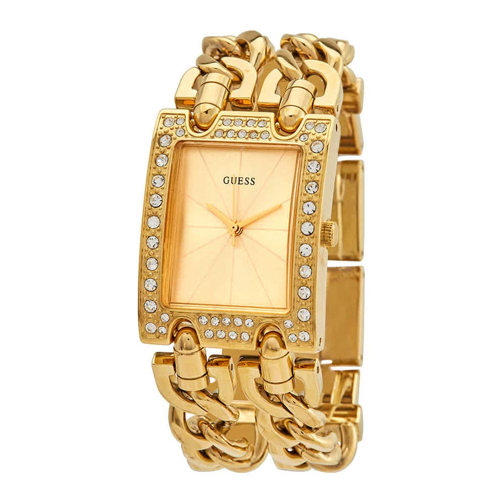 Guess mod Heavy Metal Womens Analog Quartz Watch with Stainless Steel Gold Plated Bracelet W1121L2 by GUESS