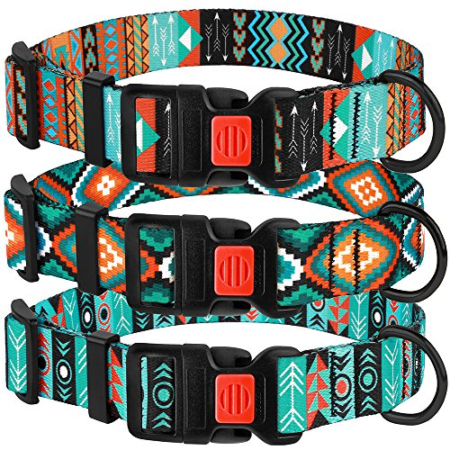 CollarDirect Nylon Dog Collar with Buckle Tribal Pattern Puppy Adjustable Collars for Dogs Small Medium Large (Pattern 2, Neck Fit 14