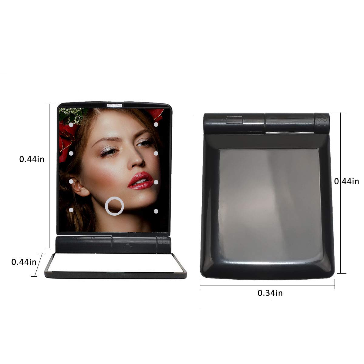 Mirror with Lights Makeup Mirror with 8 LED Adjustable Makeup Mirrors with Lights, Including Button Battery, Touch Screen Switch, Portable, Folding,Magnification Compact Mirror, Traveling(Black): Kitchen & Dining