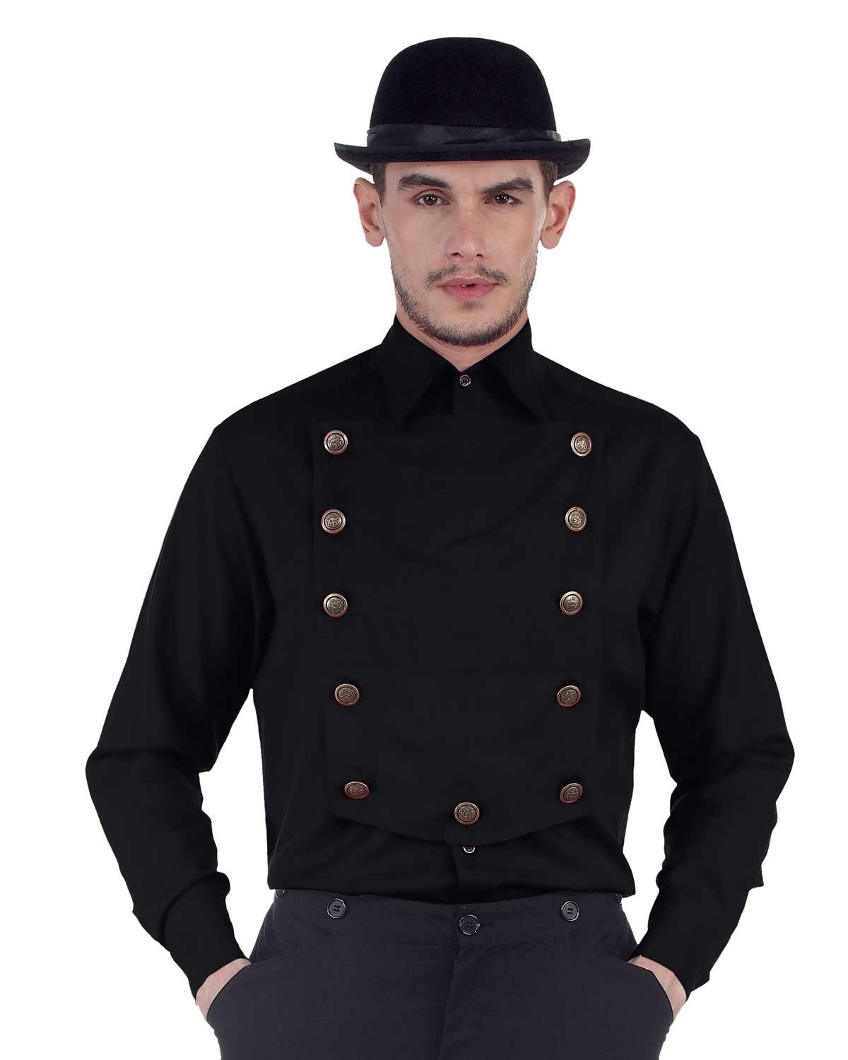 ThePirateDressing Steampunk Victorian Cosplay Costume Mens Linen Airship Shirt C1290 (Black) (Small)