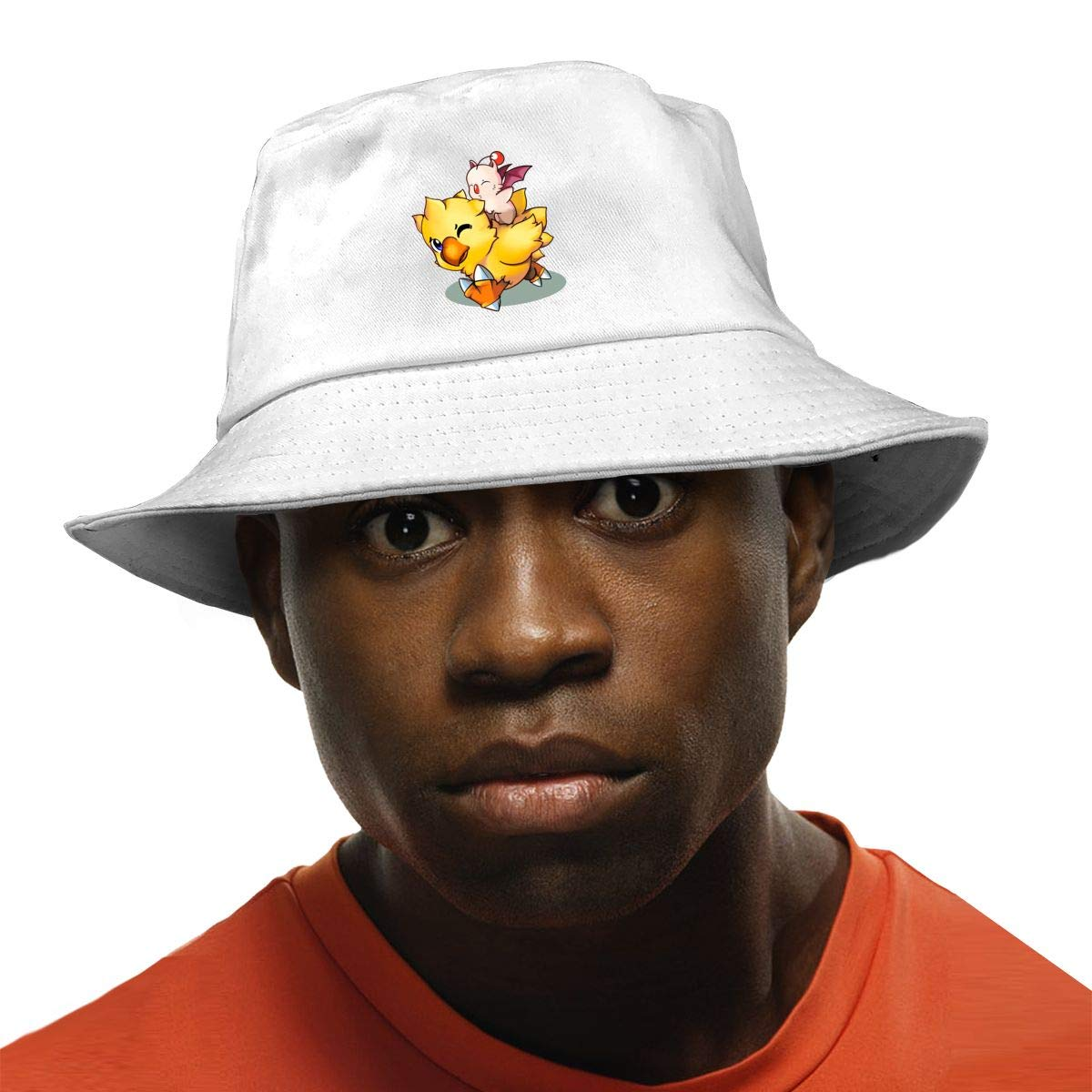 PPAN Final Fantasy Mog and Chocobo Unisex Cotton Packable Black Travel Bucket Hat Fishing Cap