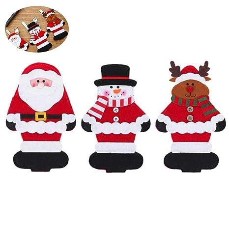 KOBWA - Juego de 3 Soportes para Cubiertos de Navidad, para ...