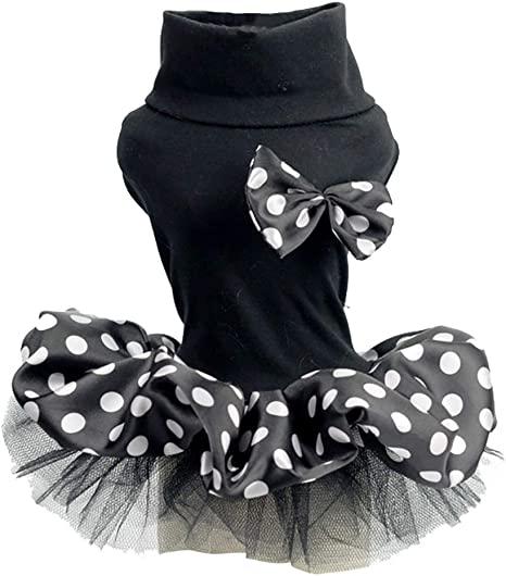 Dog Dress Black and White with Tulle Skirt