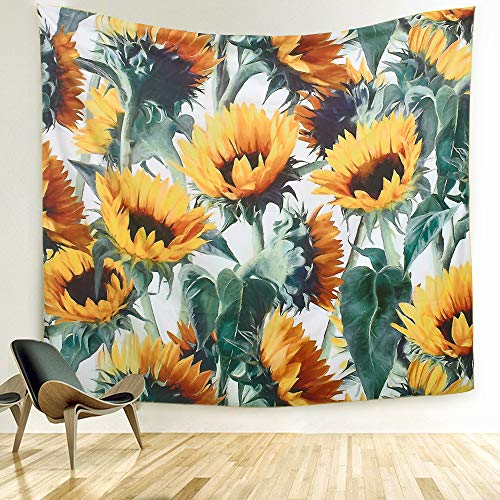 ARFBEAR Sunflower Tapestry, Forever Wall Hanging Warm Golden Yellow and Green Wall and Home Decor 59x51 Inches (Medium) ()