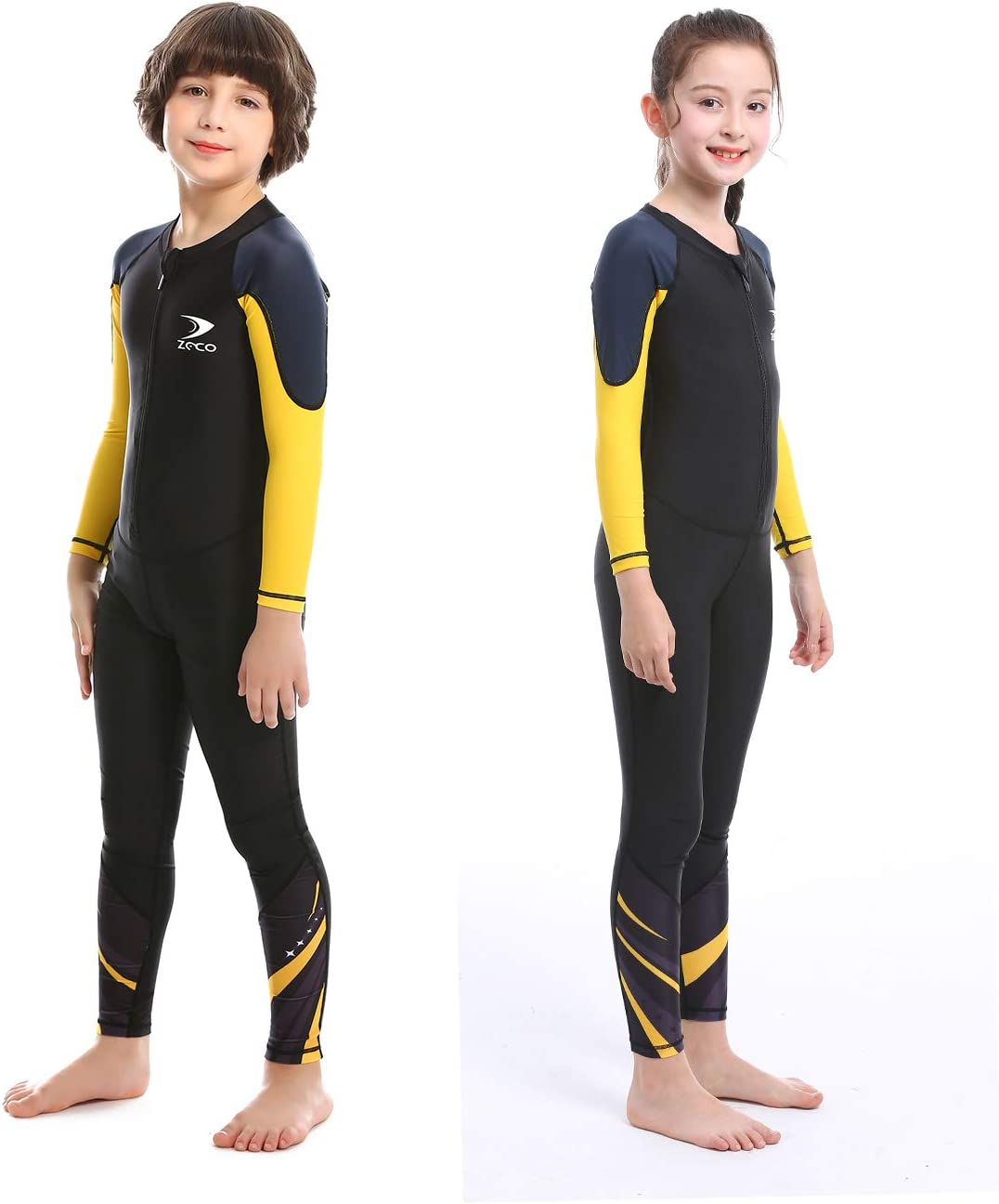 ZCCO Kids Swimsuit Girls and Boys Long Sleeve UV Sun Protection Full Body Rash Guard for Swimming Scuba Diving Snorkeling Pool Multi Water Sports One Piece Dive Skin Wet Suit
