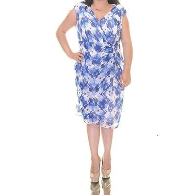 Alfani Women's V-Neck Ruched Faux Wrap Mesh Dress