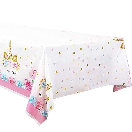 Mantel de Plástico con Patrón de Unicornio Cubierta de Mesa Desechable para Suministros de Decoración de Fiesta de Cumpleaños (5 Piezas)