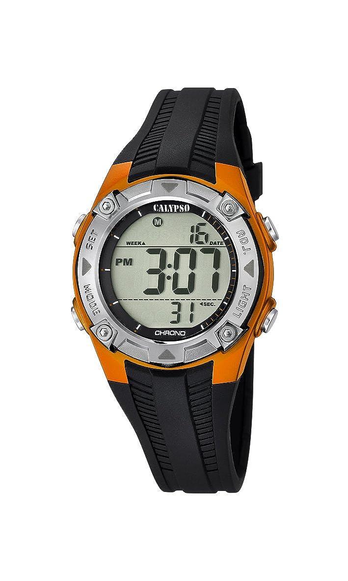 Calypso - Reloj Digital Unisex con Esfera LCD Pantalla Digital y Negro Correa de plástico K5685/7: Amazon.es: Relojes