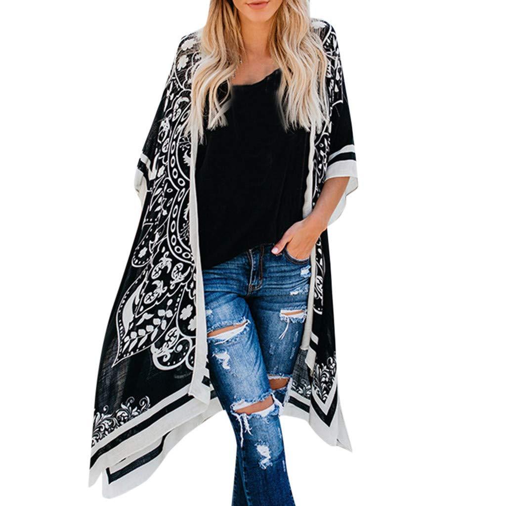 Printed Style Long Beach Coat Loose Cardigan Bikini Blouse Sun Protection Shirt