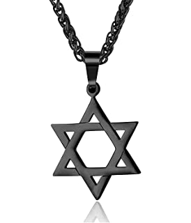 6c5d1e728c4d6 PROSTEEL Men Magen Star of David Necklace Israel Judaica Hebrew ...