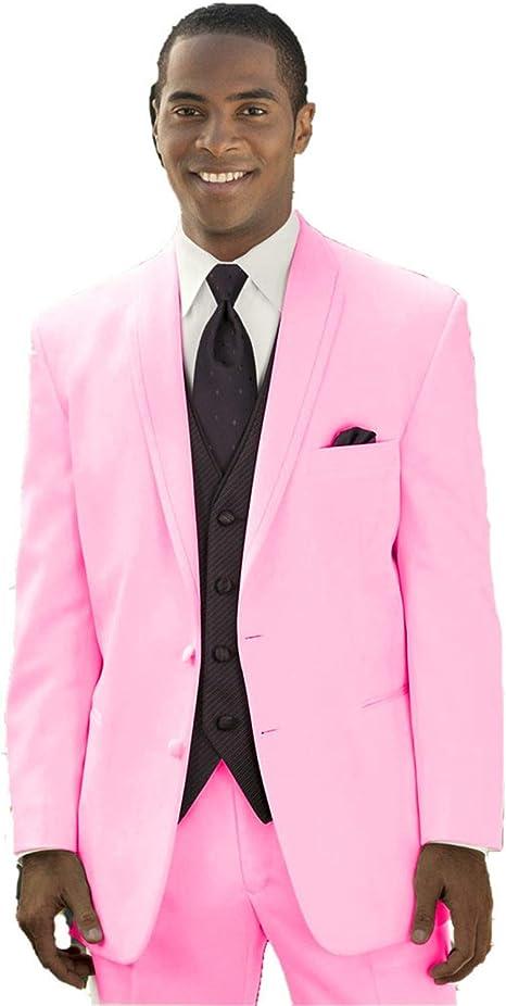 mys Hombre Justo lo Novio Boda Smoking Traje pantalón Chaleco Corbata Juego Color Rosa Rosa Adaptado: Amazon.es: Ropa y accesorios
