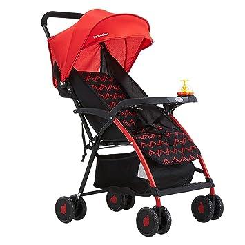 Baobcher Cochecitos para niños Ligeros Asiento cómodo y liviano Sentado o acostado para bebés de 0-3 años de Edad Azul Rojo (Color : Red): Amazon.es: Hogar