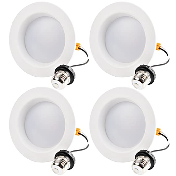 Hykolity 4 Inch LED Recessed Downlight, 10W 700LM Dimmable Retrofit Recessed Can Downlight, 4000K Neutral White, Damp Location, 50W BR20/ 65W BR30 ...