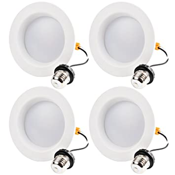 Hykolity 4 Inch LED Recessed Downlight, 10W 700LM Dimmable Retrofit Recessed Can Downlight, 4000K