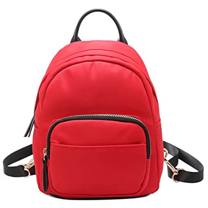 1d9a1885db32 Image Unavailable. Image not available for. Color  JAGENIE Women Mini  Backpack Nylon Shoulder School Travel Small Bag Casual Rucksack Tote Red