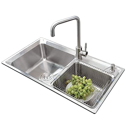 Double Bowl Kitchen Washing Sink 28 inch Stainless Steel ...
