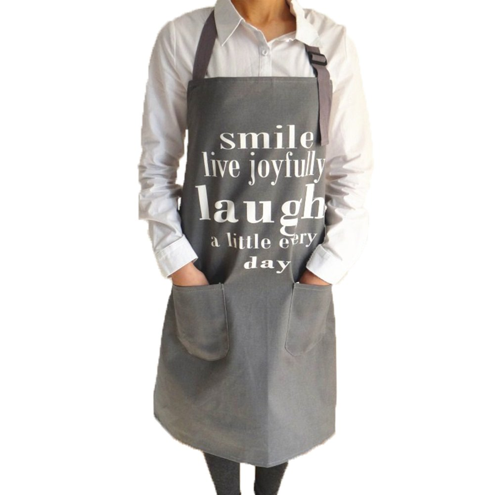 EDICP Aprons for Women,Men Thicker 100% Cotton Canvas kitchen Cooking Apron Bibs with 2 Pockets 32x28inches(Smile)