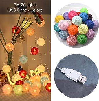 Decoración del hogar Guirnalda LED Bolas de hilo de algodón Luces USB DIY Bola de algodón Cadena de luces de hadas Luces LED Regalos de cumpleaños Fiesta: Amazon.es: Iluminación