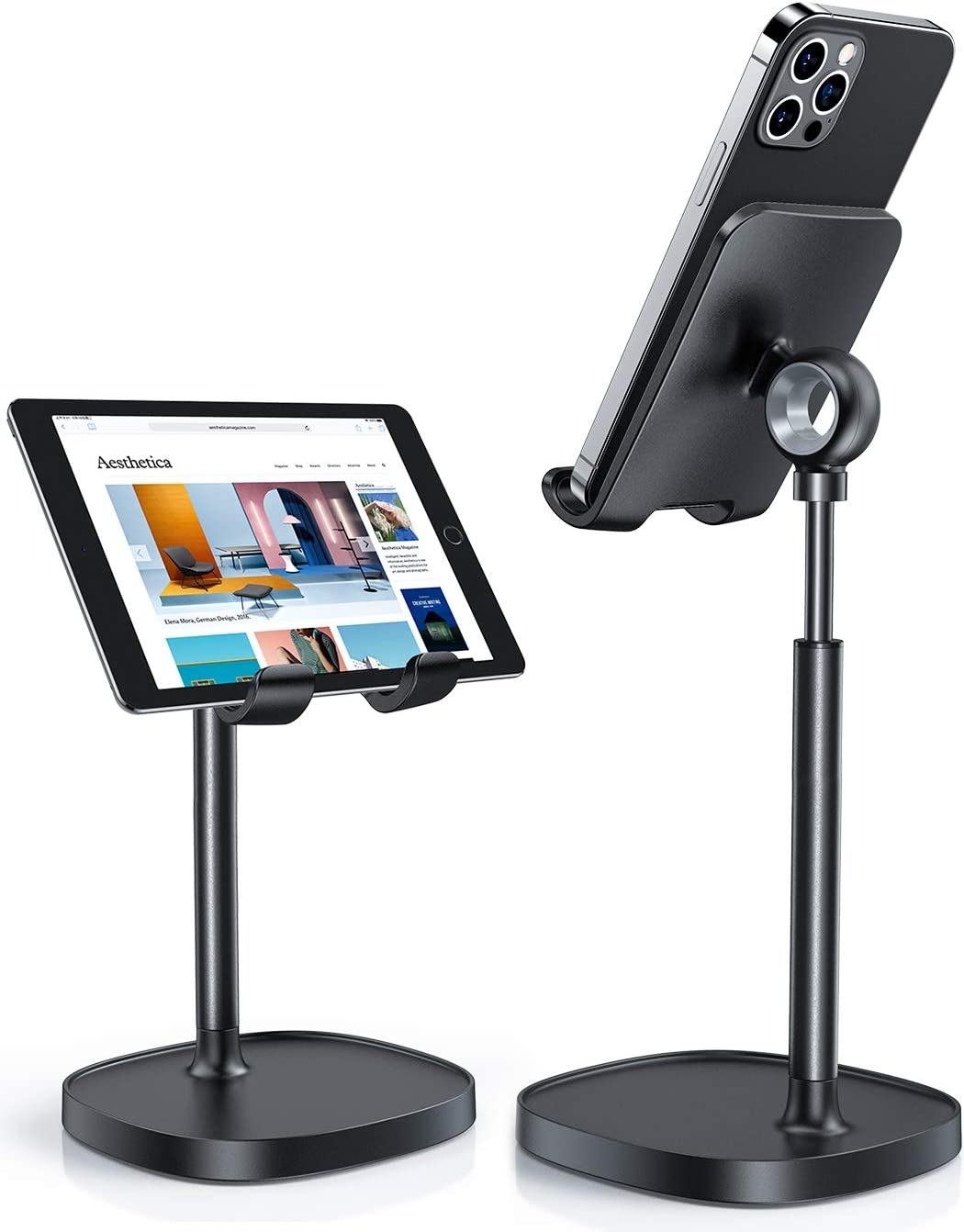 Cell Phone Stand for Desk LISEN Phone Holder Stand, Height Angle Adjustable iPhone Stand Compatible with 4-10in Samsung, Google , OnePlus-Full Black
