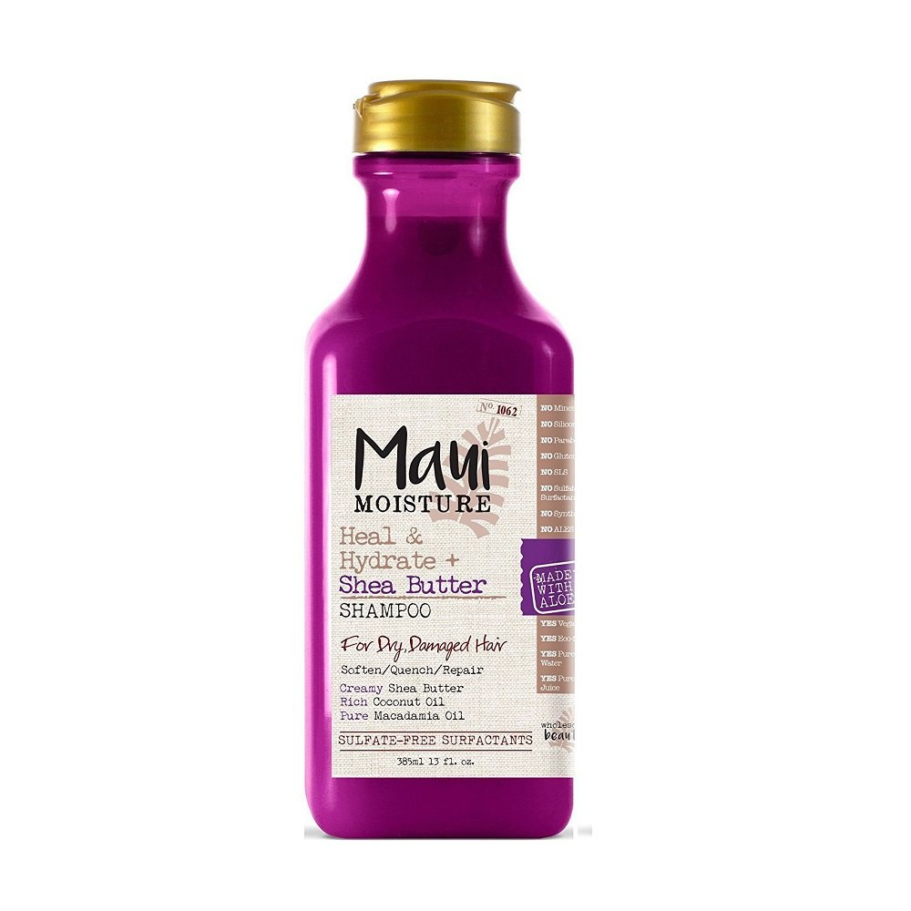 Maui Moisture Heal & Hydrate + Shea Butter Shampoo, 13 Ounce, Sulfate Free Shampoo with Shea Butter and Coconut Oil, For Softer Feeling Hair with Less Visible Split Ends