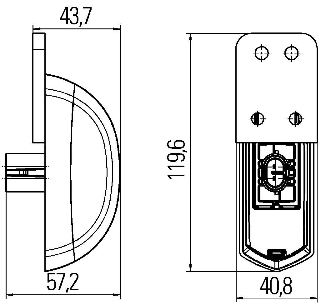 seitlicher Anbau 24 V 500 mm Kabel LED HELLA 2XS 205 020-151 Umrissleuchte