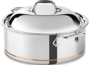 All-Clad 650618 SS Copper Core 5-Ply Bonded Dishwasher Safe Round Roaster / Cookware, 6-Quart, Silver