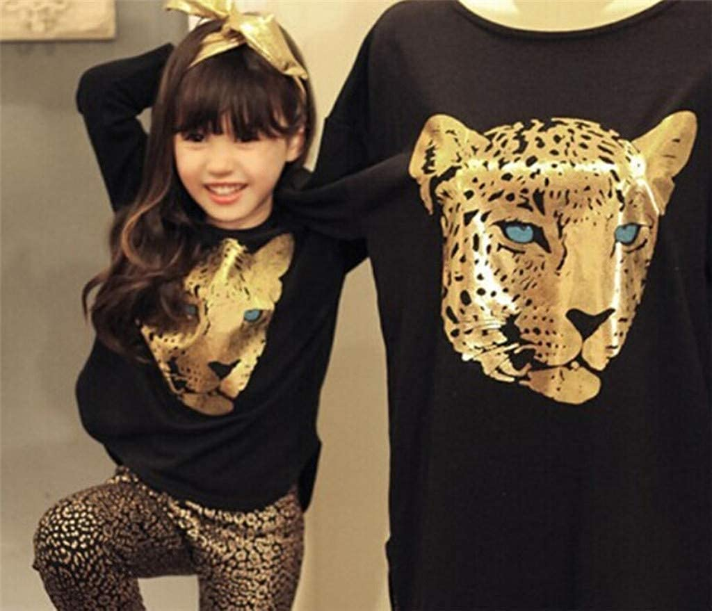 Iuhan 2-12Years Baby Girls Clothes Set Cartoon Tiger Print Tops+Leopard Pants Outfit Set