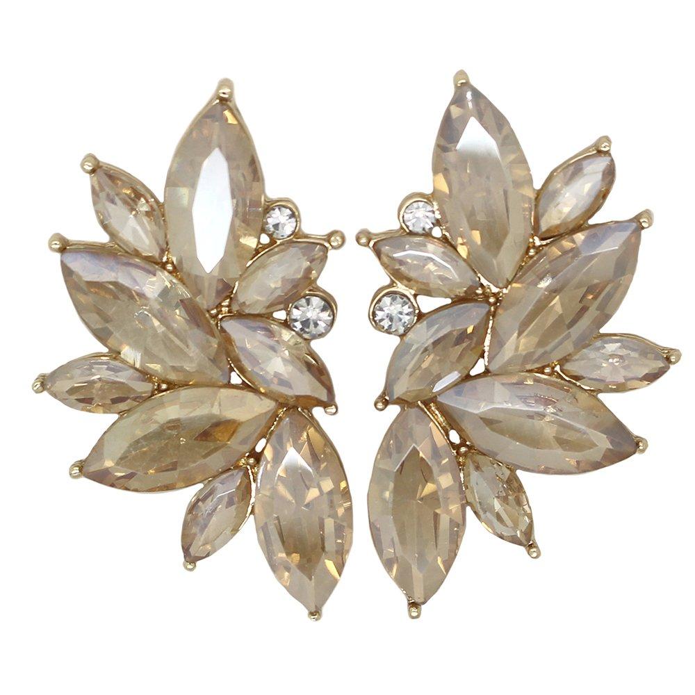 Xdaccgo Luxury Leaves Shape Glass Cluster Crystal Teardrop Flower Design Studs Earrings (Chanpagne)