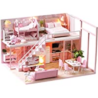 Cute Room DIY Miniature Dollhouse Kit with Furniture,Wooden Doll House Plus Music Movement & LED Lights, 1:24 Scale DIY…