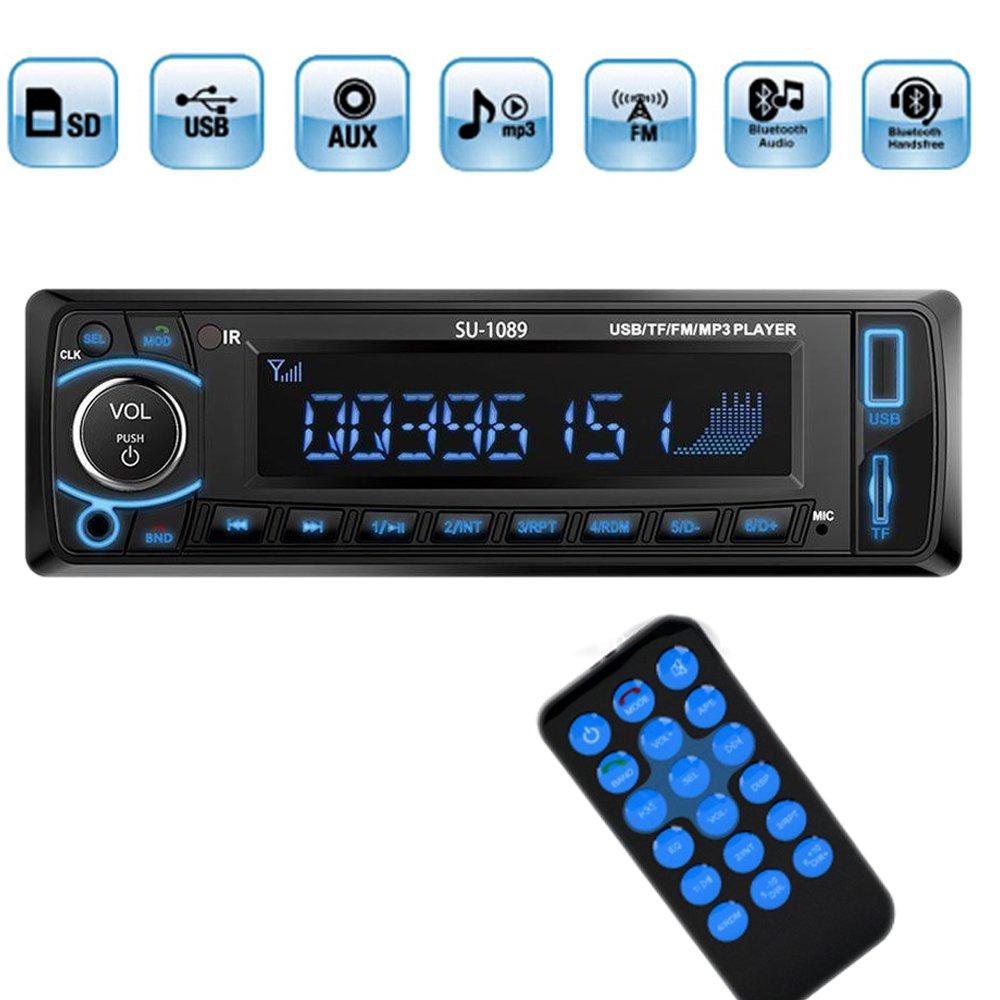 Polarlander BluetoothカーステレオFMラジオプレーヤーmp3オーディオUSB SD AUX自動Electronics Autoradio 1 DIN B01HODJZEC