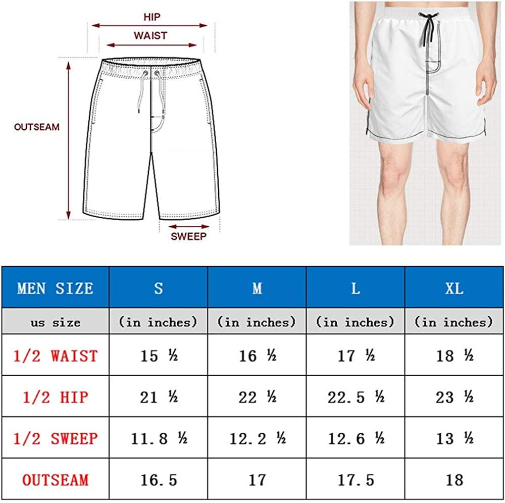 Sounthhery Mens Quick Dry Swim Trunks Beach Board Shorts with Elastic Waist
