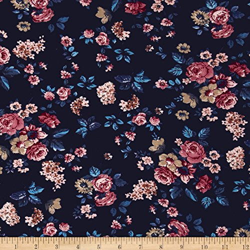 Italian Couture Stretch Viscose Jersey Knit Floral Navy/Red Fabric by The -