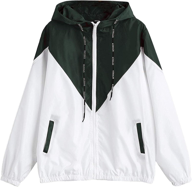 Womens Color Block Drawstring Hooded Zip up Sports Jacket Windproof Windbreaker