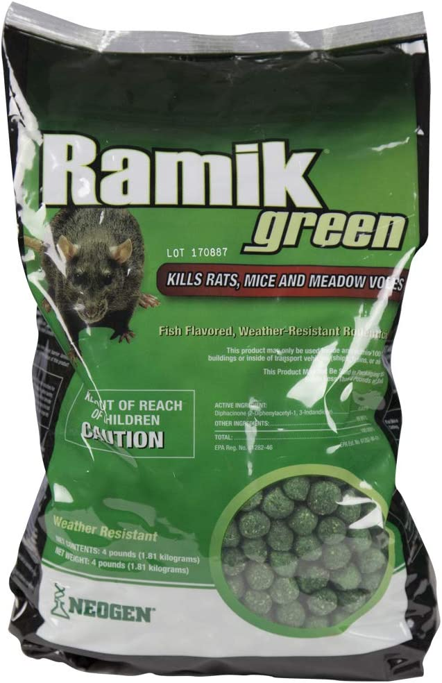 Neogen Ramik Green Fish Flavored Weather Resistant Rodenticide Nuggets, 4 lb bag : Home Pest Lures : Garden & Outdoor