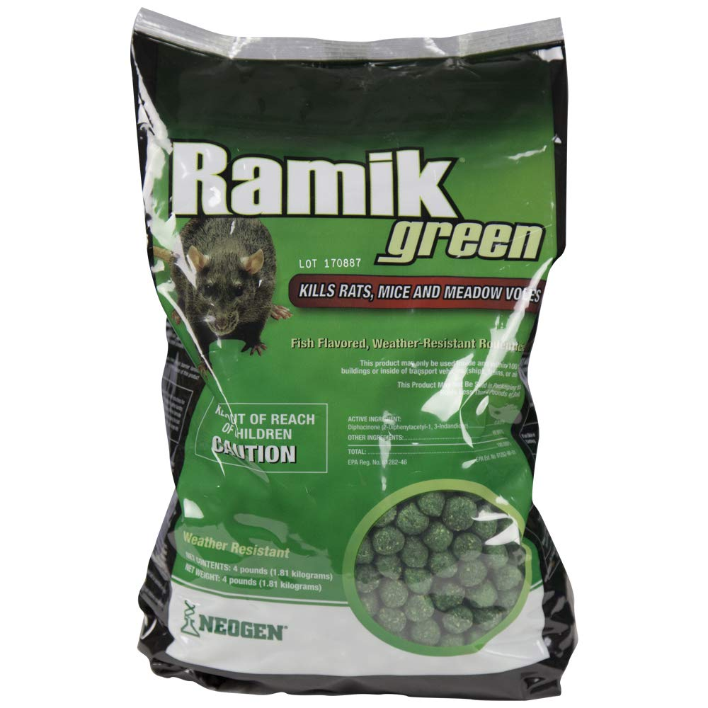 NEOGEN RODENTICIDE Ramik Mouse and Rat Nuggets Pouch, 4-Pound, Green by NEOGEN RODENTICIDE (Image #1)